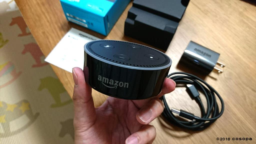 実際にEcho Dotを手に持ってみると思った以上に小さかったです